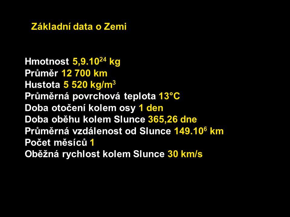 Základní data o Zemi Hmotnost 5,9.1024 kg. Průměr 12 700 km. Hustota 5 520 kg/m3. Průměrná povrchová teplota 13°C.