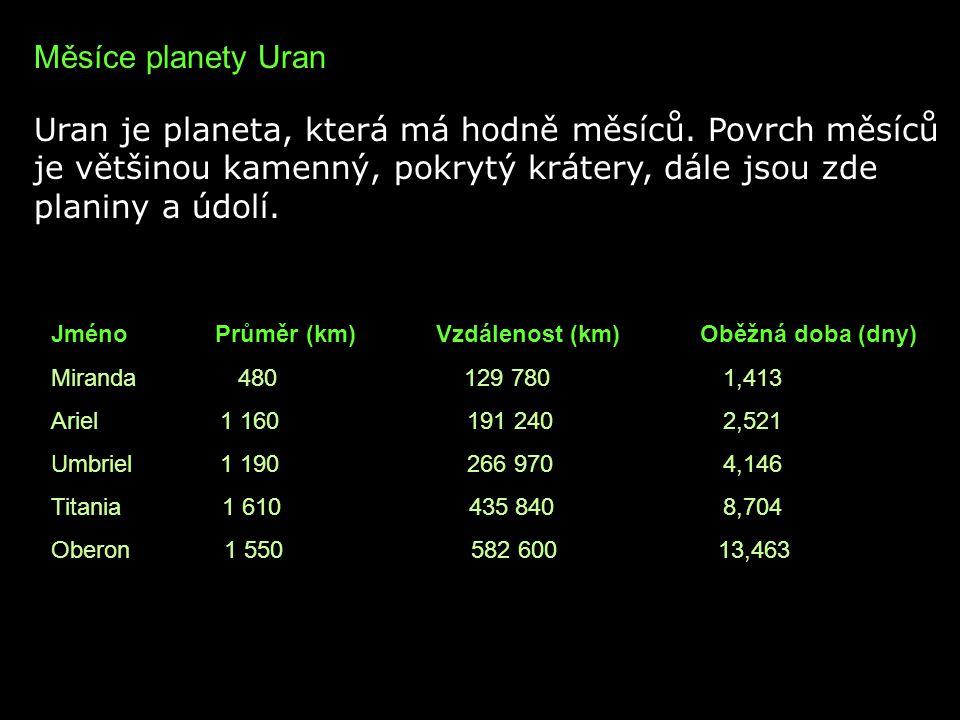 Měsíce planety Uran Uran je planeta, která má hodně měsíců. Povrch měsíců je většinou kamenný, pokrytý krátery, dále jsou zde planiny a údolí.