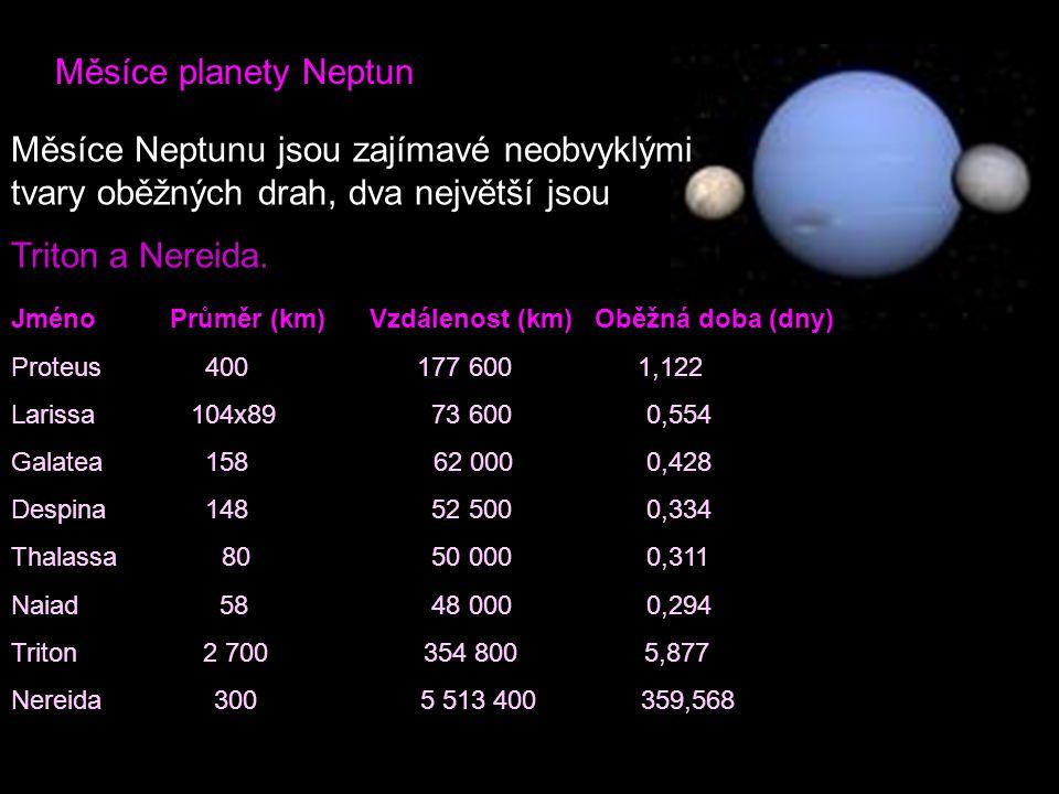 Měsíce planety Neptun Měsíce Neptunu jsou zajímavé neobvyklými tvary oběžných drah, dva největší jsou.