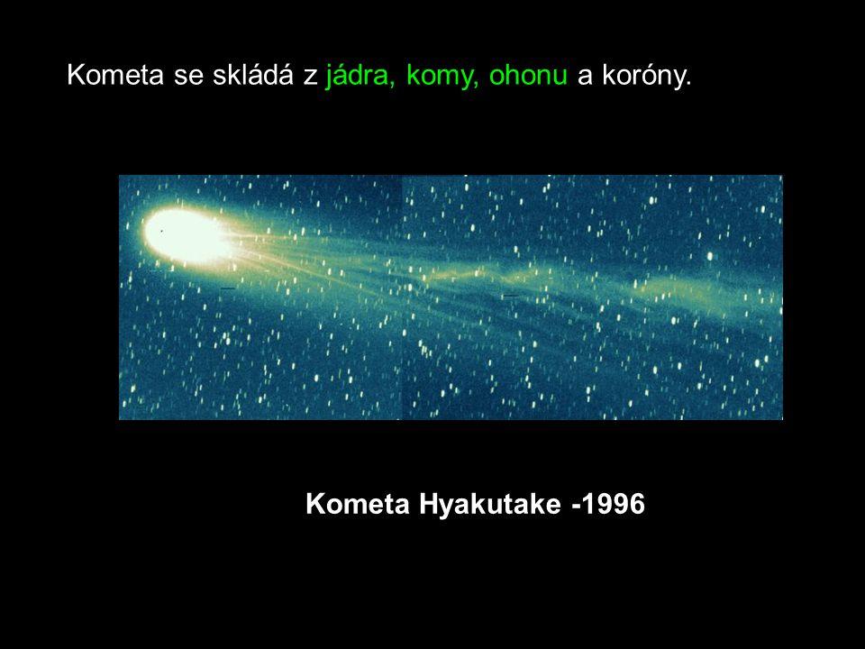 Kometa se skládá z jádra, komy, ohonu a koróny.
