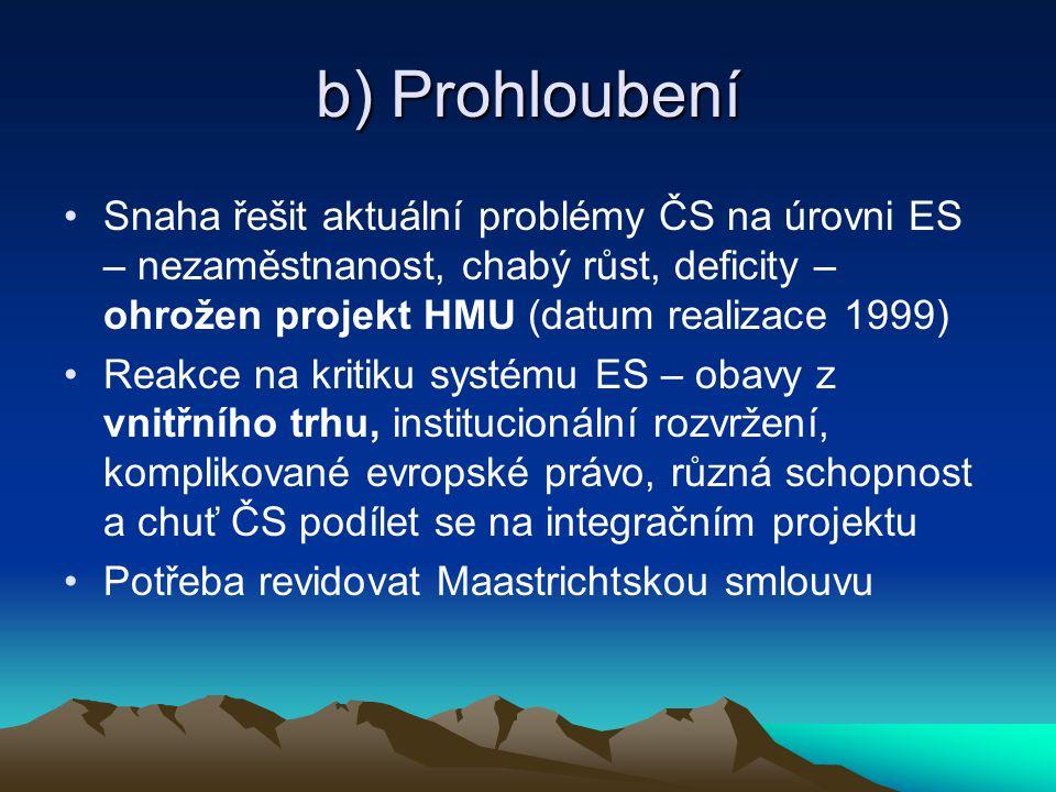 b) Prohloubení Snaha řešit aktuální problémy ČS na úrovni ES – nezaměstnanost, chabý růst, deficity – ohrožen projekt HMU (datum realizace 1999)