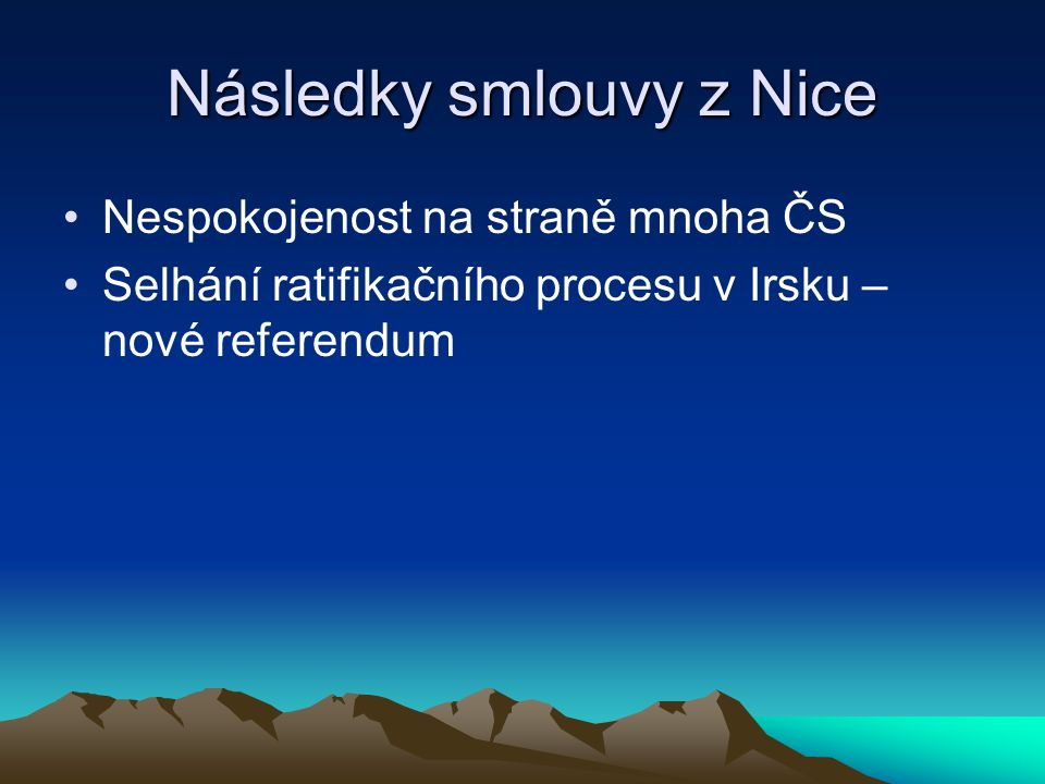 Následky smlouvy z Nice