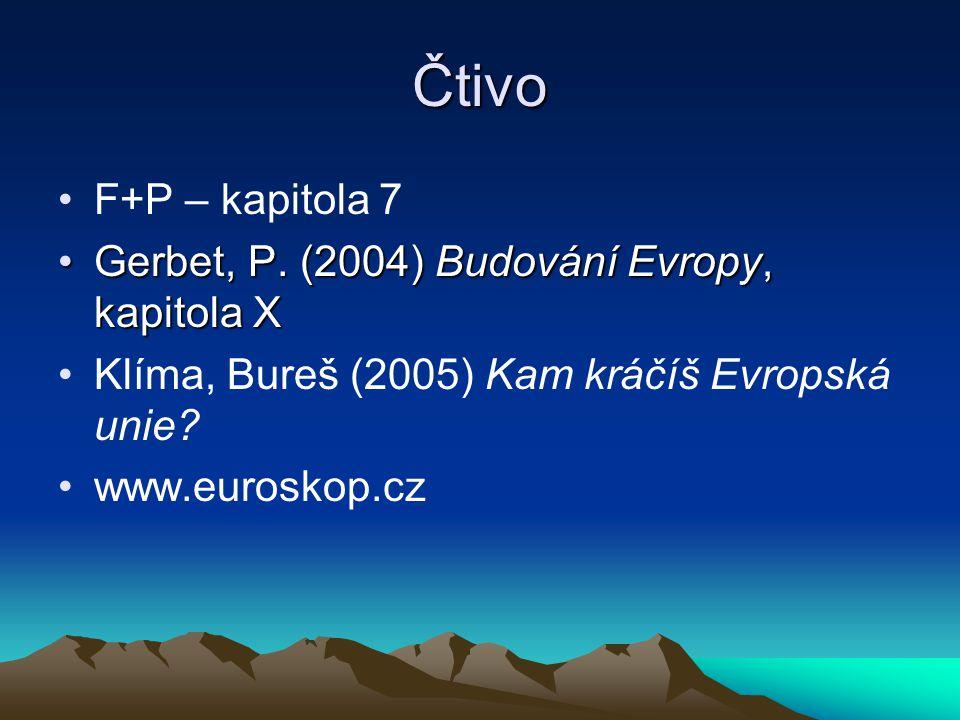 Čtivo F+P – kapitola 7 Gerbet, P. (2004) Budování Evropy, kapitola X
