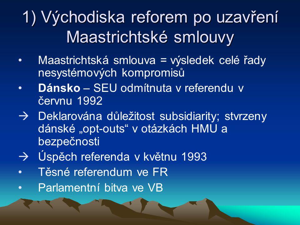 1) Východiska reforem po uzavření Maastrichtské smlouvy