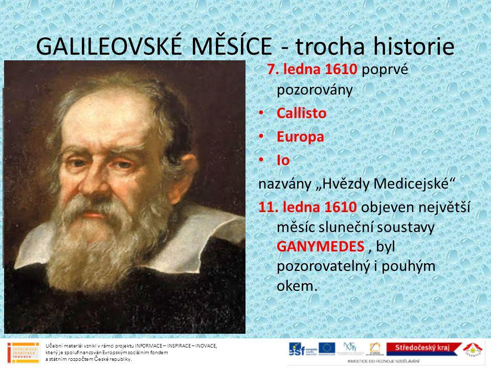 GALILEOVSKÉ MĚSÍCE - trocha historie