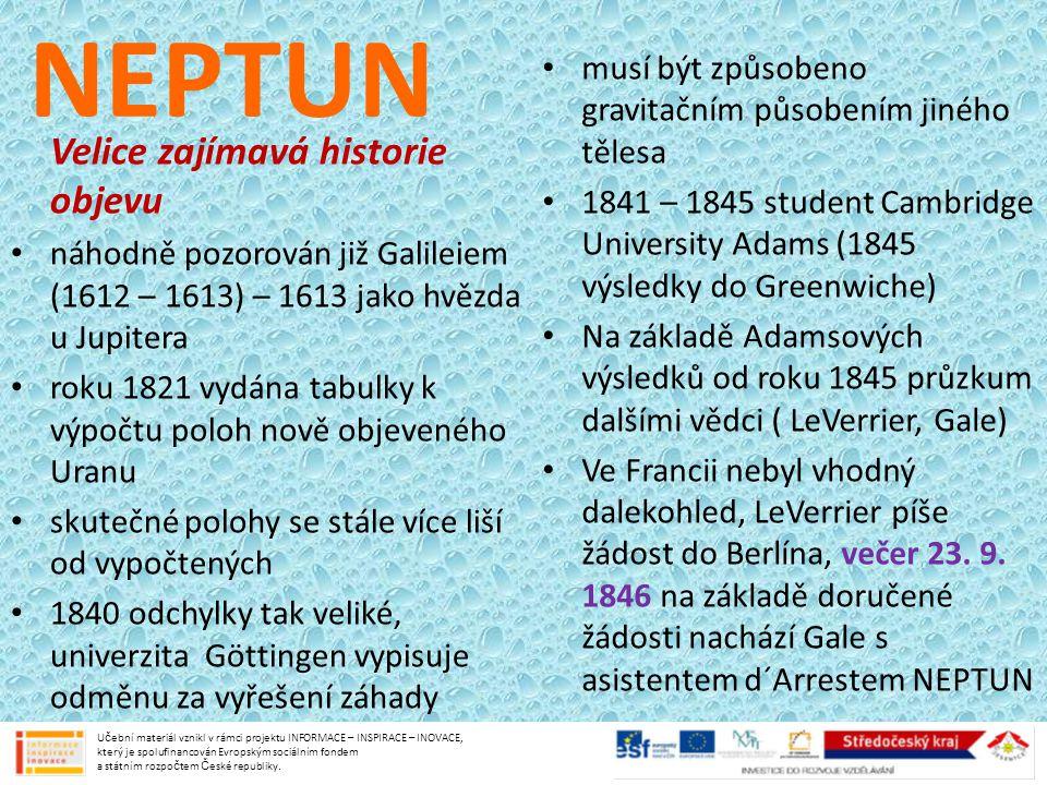 NEPTUN Velice zajímavá historie objevu