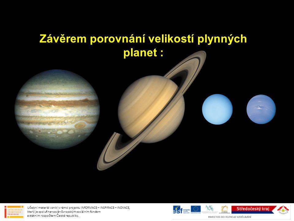 Závěrem porovnání velikostí plynných planet :