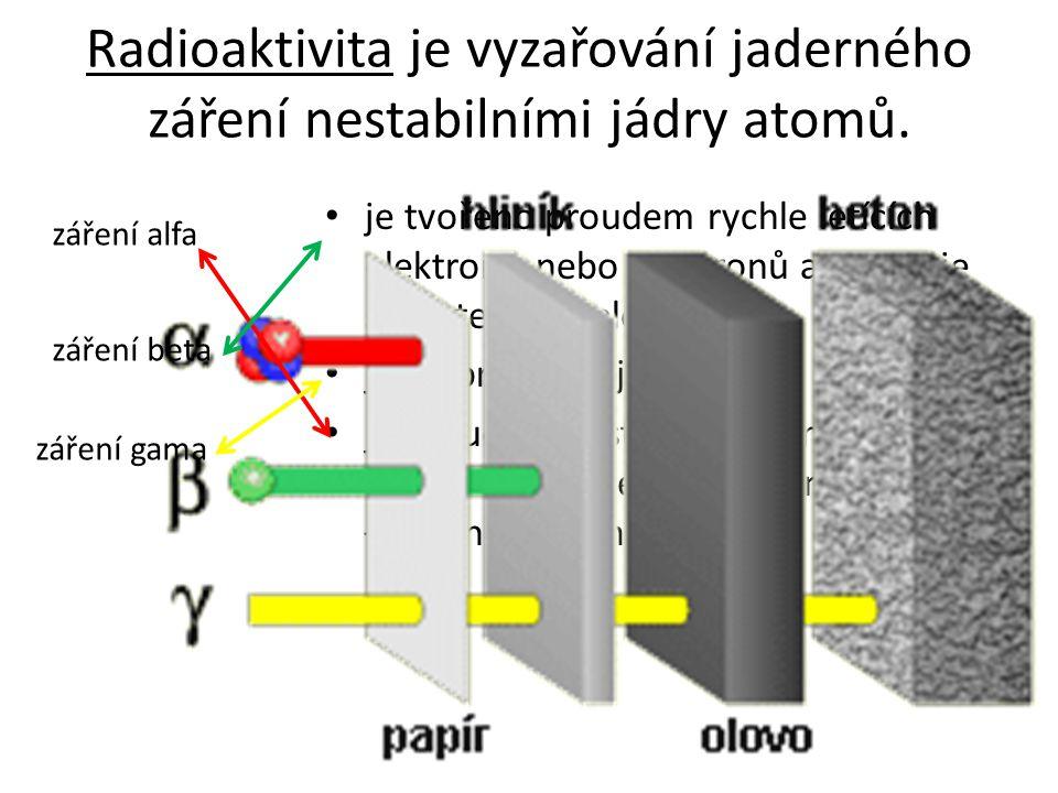 Radioaktivita je vyzařování jaderného záření nestabilními jádry atomů.