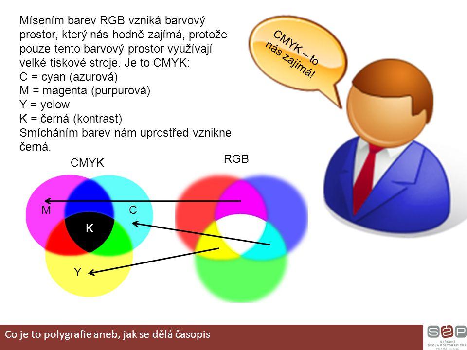 M = magenta (purpurová) Y = yelow K = černá (kontrast)