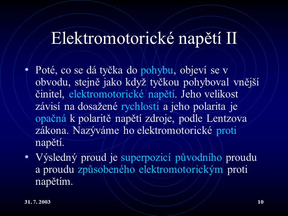 Elektromotorické napětí II