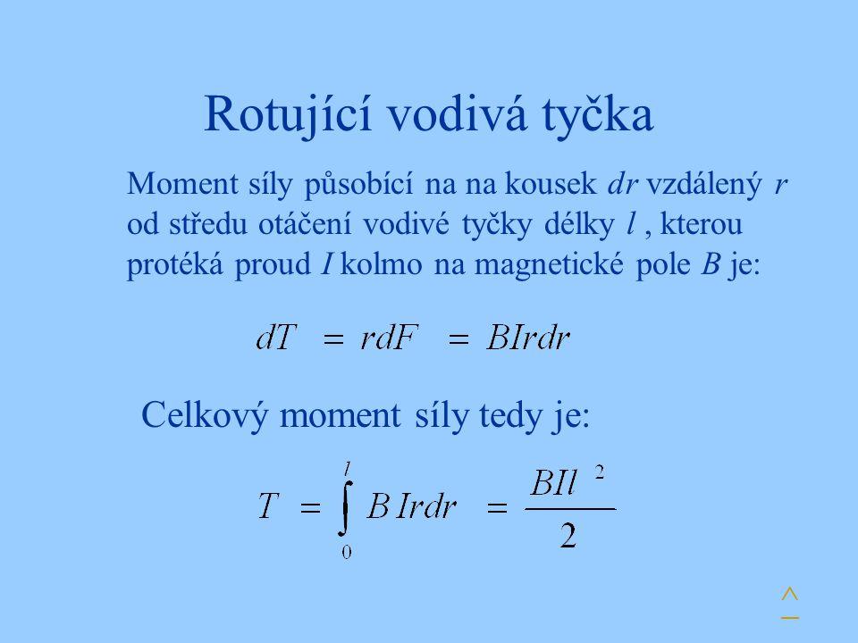 Rotující vodivá tyčka Celkový moment síly tedy je: ^