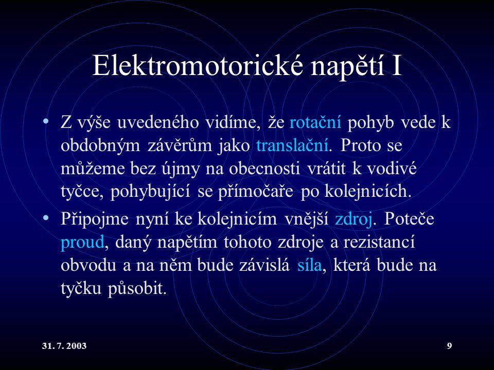 Elektromotorické napětí I