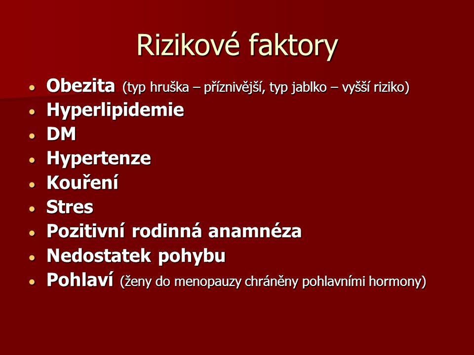 Rizikové faktory Obezita (typ hruška – příznivější, typ jablko – vyšší riziko) Hyperlipidemie. DM.