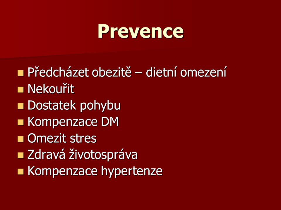 Prevence Předcházet obezitě – dietní omezení Nekouřit Dostatek pohybu