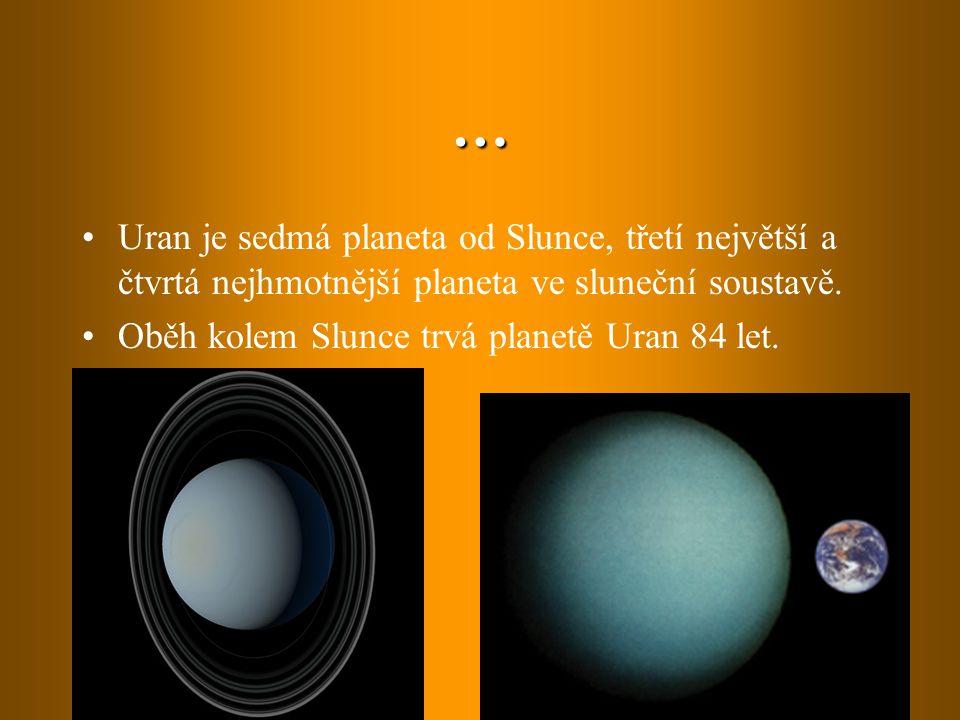 … Uran je sedmá planeta od Slunce, třetí největší a čtvrtá nejhmotnější planeta ve sluneční soustavě.