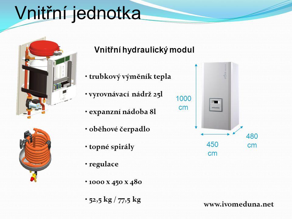 Vnitřní jednotka Vnitřní hydraulický modul • trubkový výměník tepla