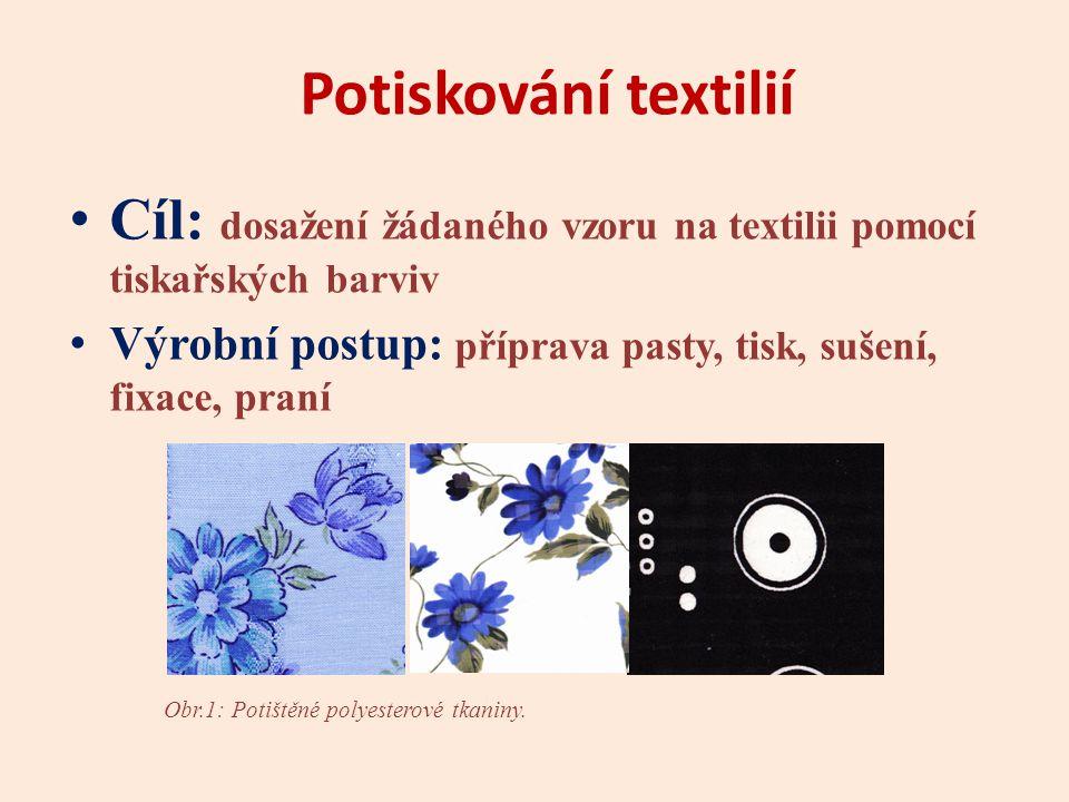 Potiskování textilií Cíl: dosažení žádaného vzoru na textilii pomocí tiskařských barviv. Výrobní postup: příprava pasty, tisk, sušení, fixace, praní.