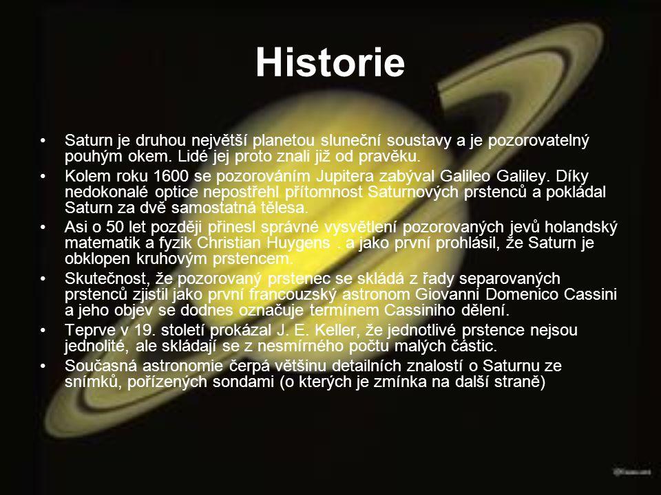 Historie Saturn je druhou největší planetou sluneční soustavy a je pozorovatelný pouhým okem. Lidé jej proto znali již od pravěku.