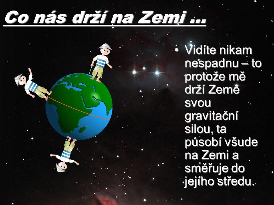 Co nás drží na Zemi … Vidíte nikam nespadnu – to protože mě drží Země svou gravitační silou, ta působí všude na Zemi a směřuje do jejího středu.