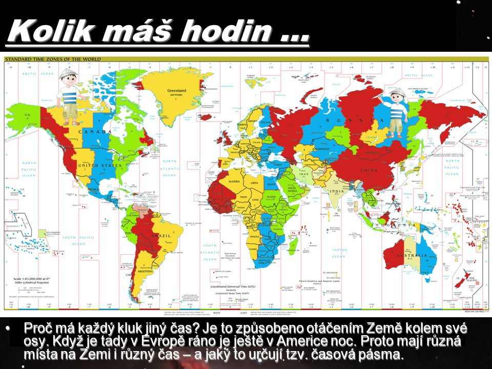Kolik máš hodin … Obr.: http://sk.wikipedia.org/wiki/S%C3%BAbor:Standard_time_zones_of_the_world.png.