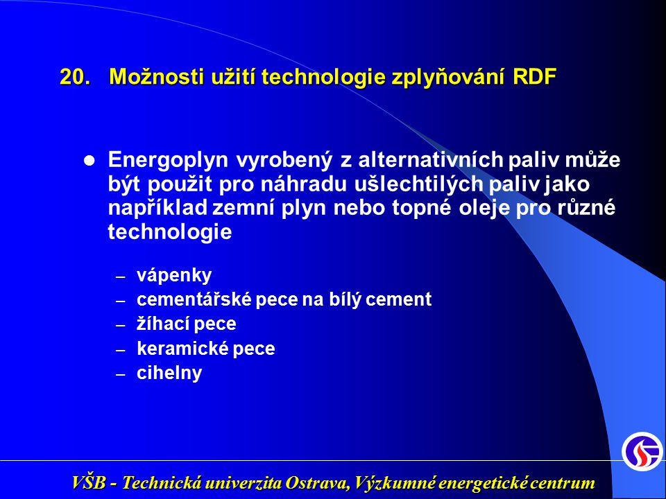 20. Možnosti užití technologie zplyňování RDF