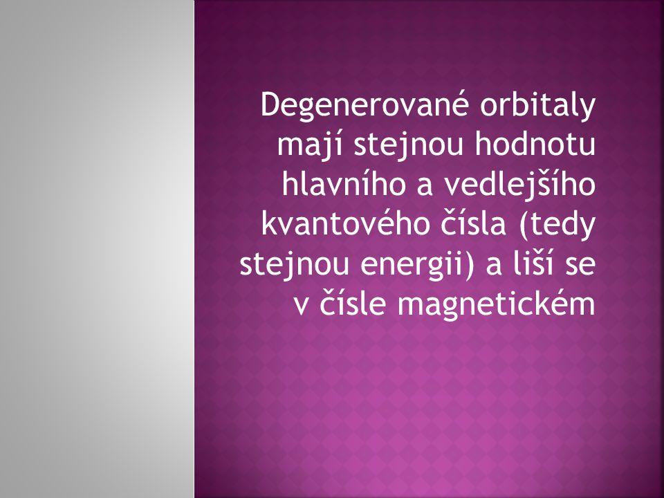Degenerované orbitaly mají stejnou hodnotu hlavního a vedlejšího kvantového čísla (tedy stejnou energii) a liší se v čísle magnetickém