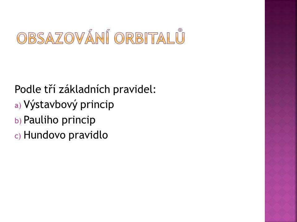 Obsazování orbitalů Podle tří základních pravidel: Výstavbový princip