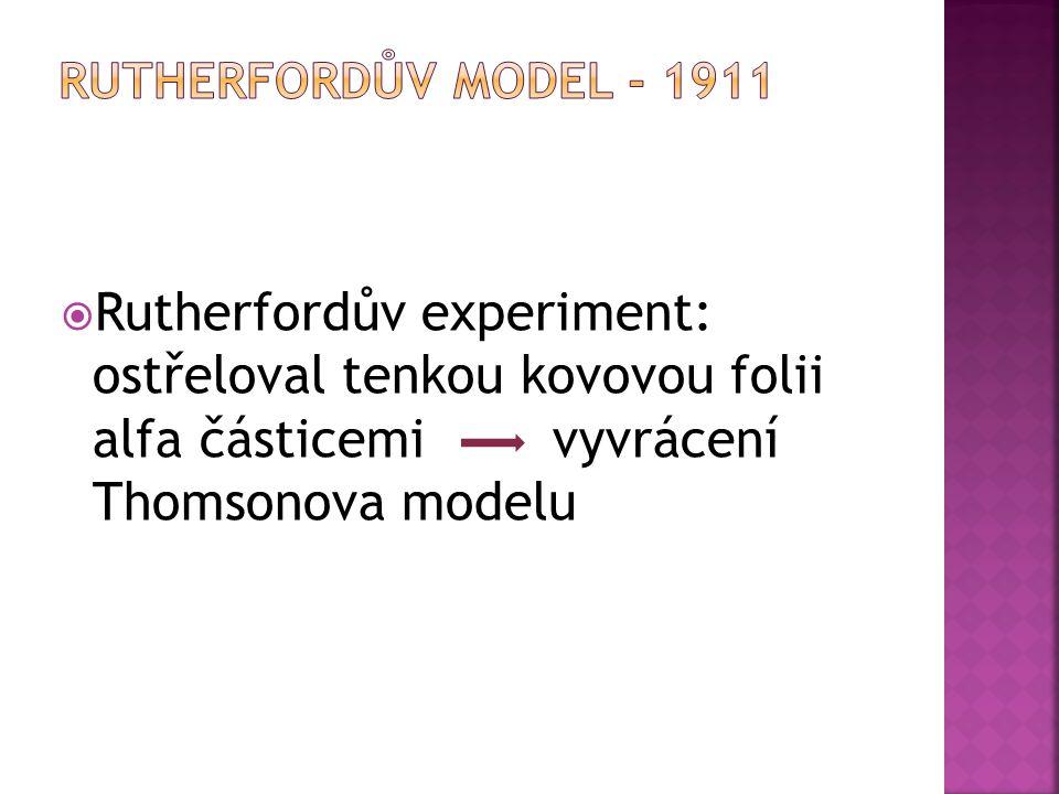 Rutherfordův model - 1911 Rutherfordův experiment: ostřeloval tenkou kovovou folii alfa částicemi vyvrácení Thomsonova modelu.