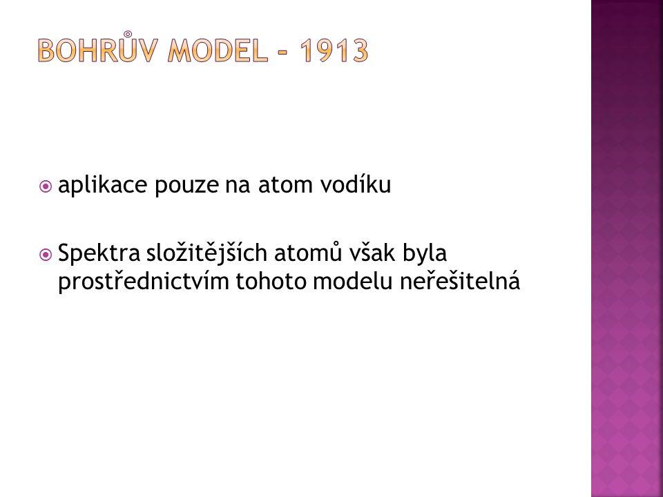 Bohrův model - 1913 aplikace pouze na atom vodíku