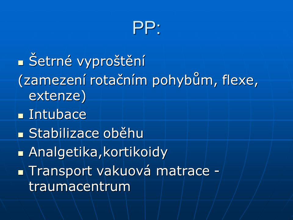 PP: Šetrné vyproštění (zamezení rotačním pohybům, flexe, extenze)
