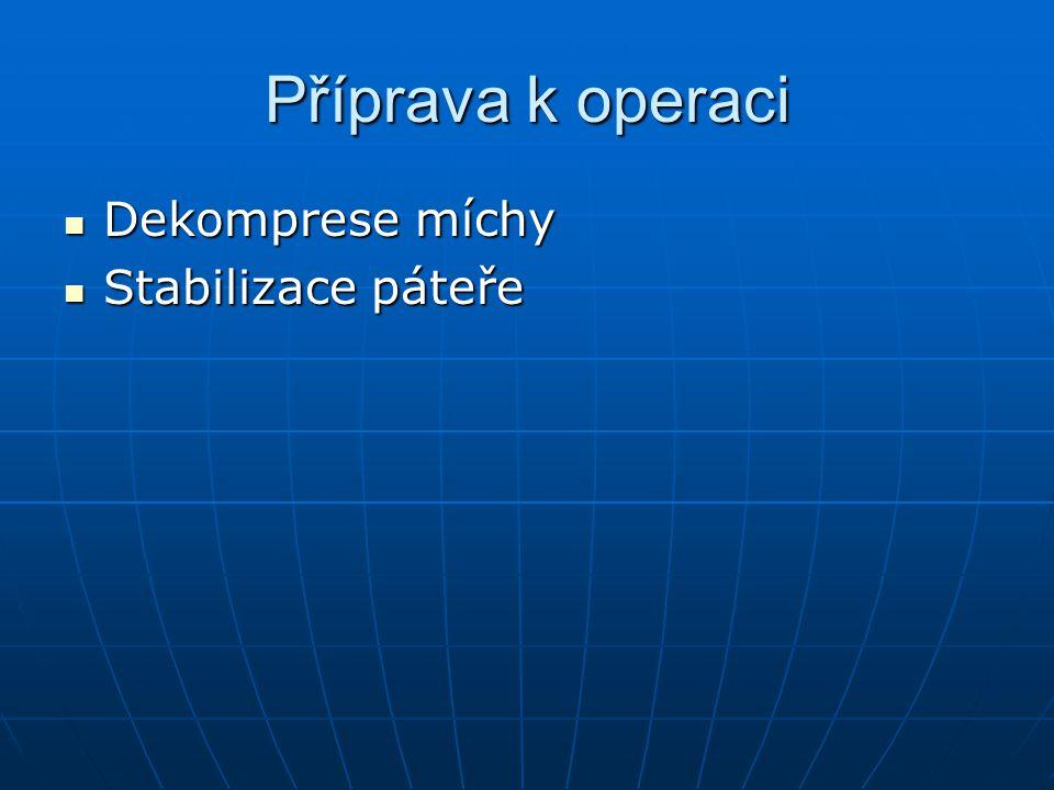 Příprava k operaci Dekomprese míchy Stabilizace páteře