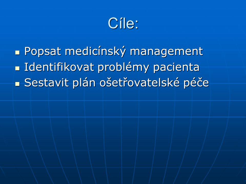 Cíle: Popsat medicínský management Identifikovat problémy pacienta