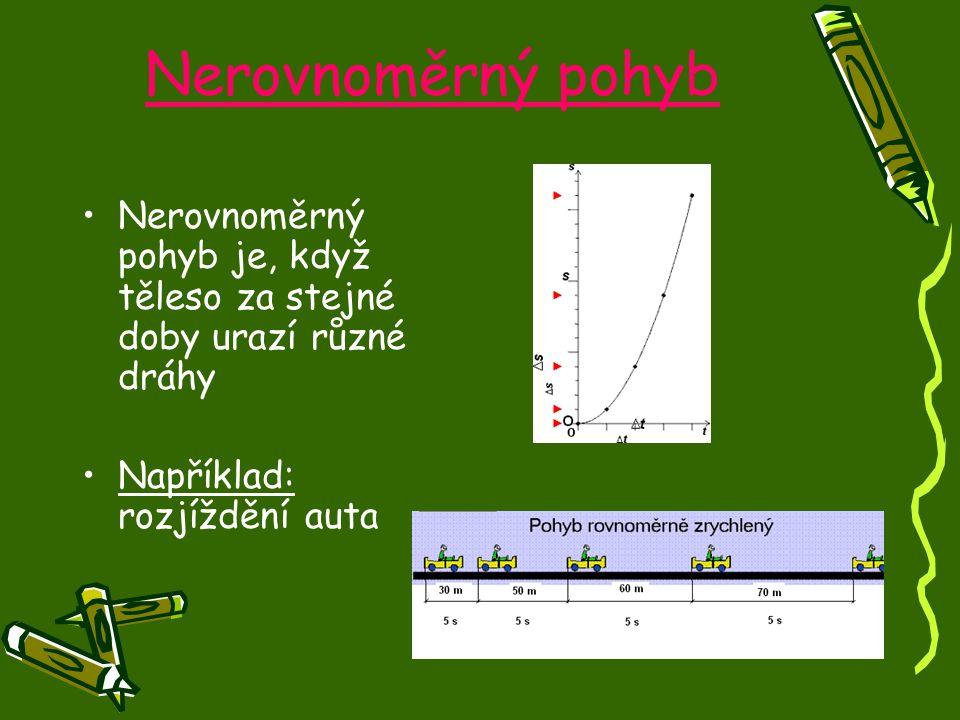 Nerovnoměrný pohyb Nerovnoměrný pohyb je, když těleso za stejné doby urazí různé dráhy.