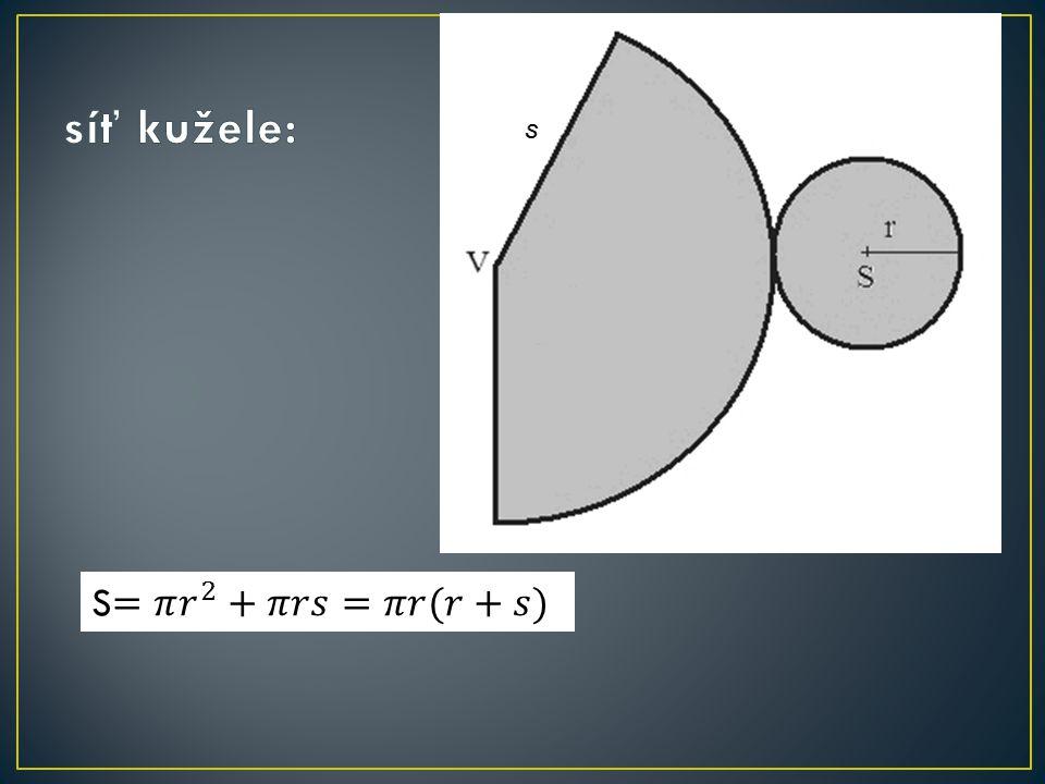 síť kužele: S=𝜋 𝑟 2 +𝜋𝑟𝑠=𝜋𝑟(𝑟+𝑠)