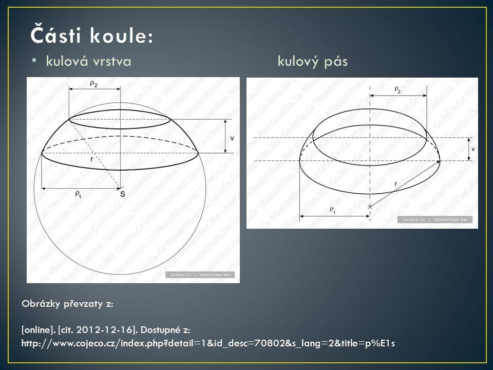 Části koule: kulová vrstva kulový pás Obrázky převzaty z:
