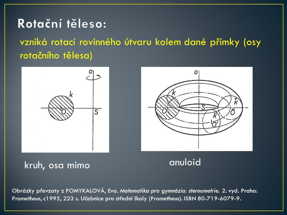 Rotační těleso: vzniká rotací rovinného útvaru kolem dané přímky (osy rotačního tělesa) anuloid. kruh, osa mimo.
