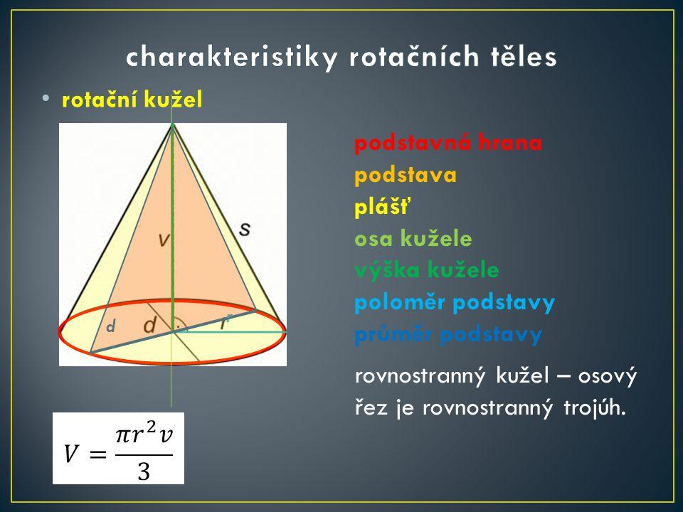 charakteristiky rotačních těles