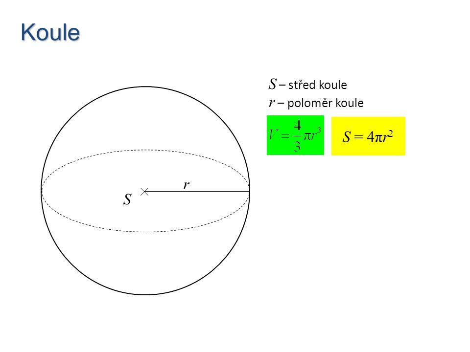 Koule S – střed koule r – poloměr koule S = 4πr2 r S