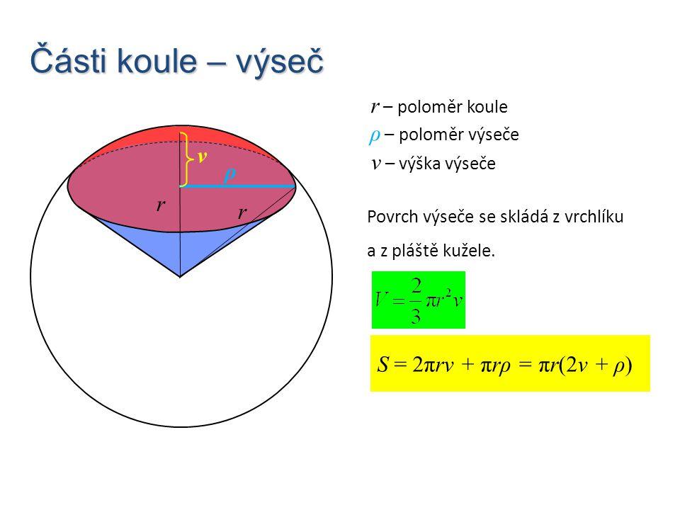 Části koule – výseč r – poloměr koule ρ – poloměr výseče v