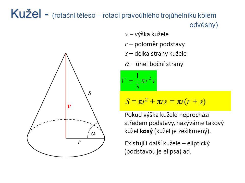 Kužel - (rotační těleso – rotací pravoúhlého trojúhelníku kolem