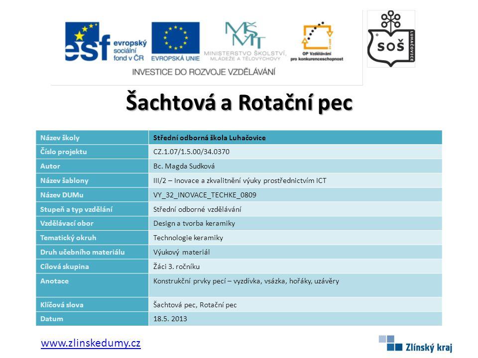 Šachtová a Rotační pec www.zlinskedumy.cz Název školy