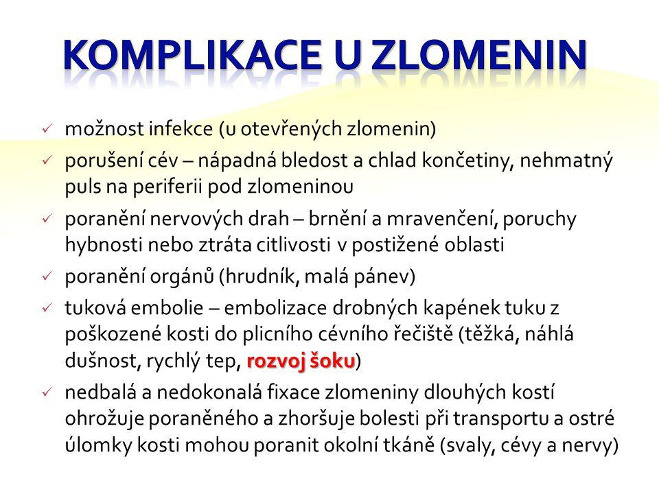 Komplikace u zlomenin možnost infekce (u otevřených zlomenin)