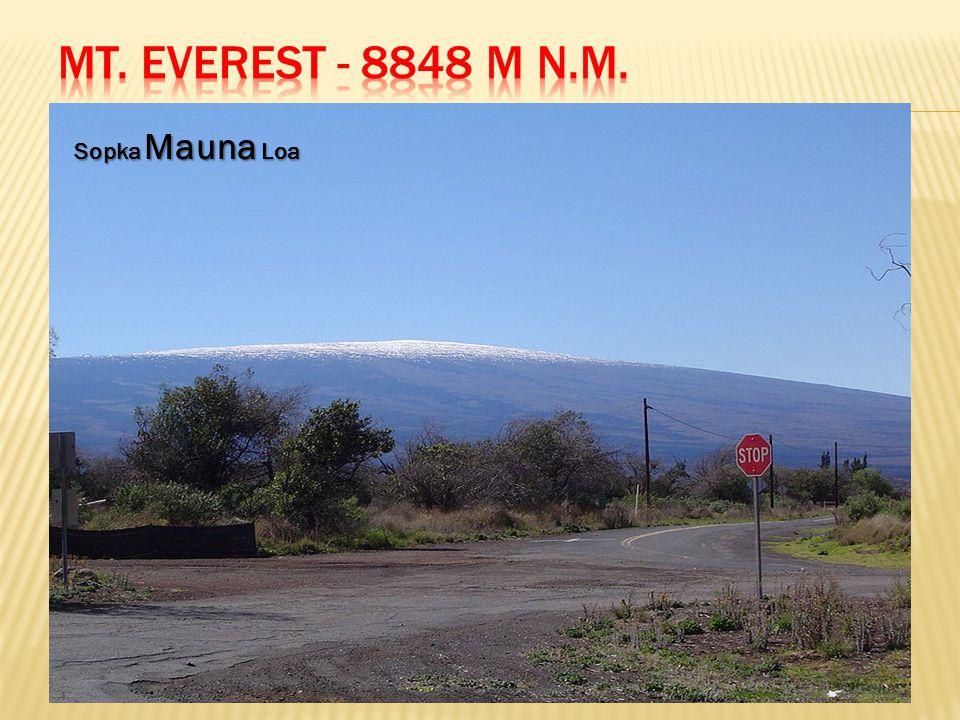 Mt. Everest - 8848 m n.m. Sopka Mauna Loa. Everest je horou, jejíž vrcholek je nejvýše nad mořskou hladinou.