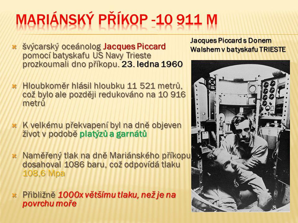Mariánský příkop -10 911 m Jacques Piccard s Donem Walshem v batyskafu TRIESTE.