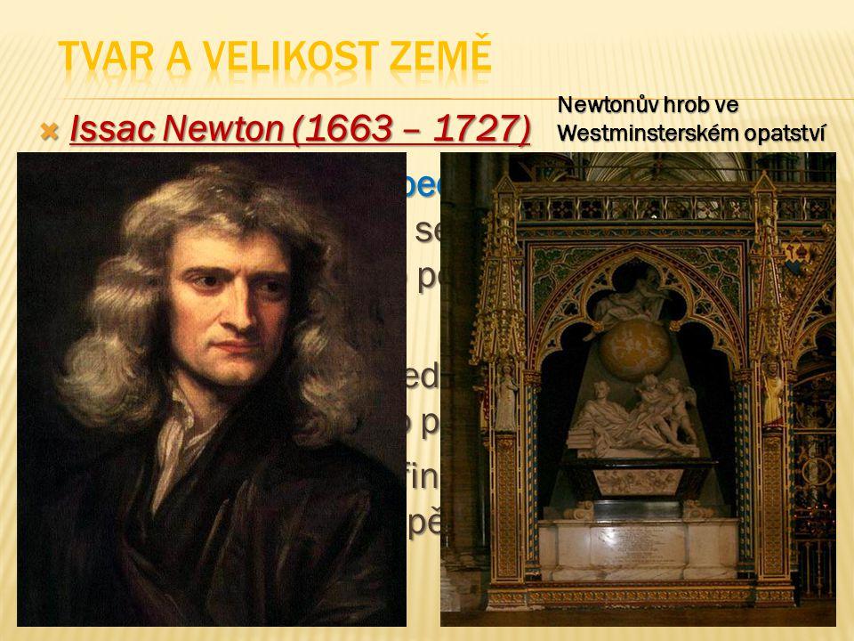Tvar a velikost Země Issac Newton (1663 – 1727)