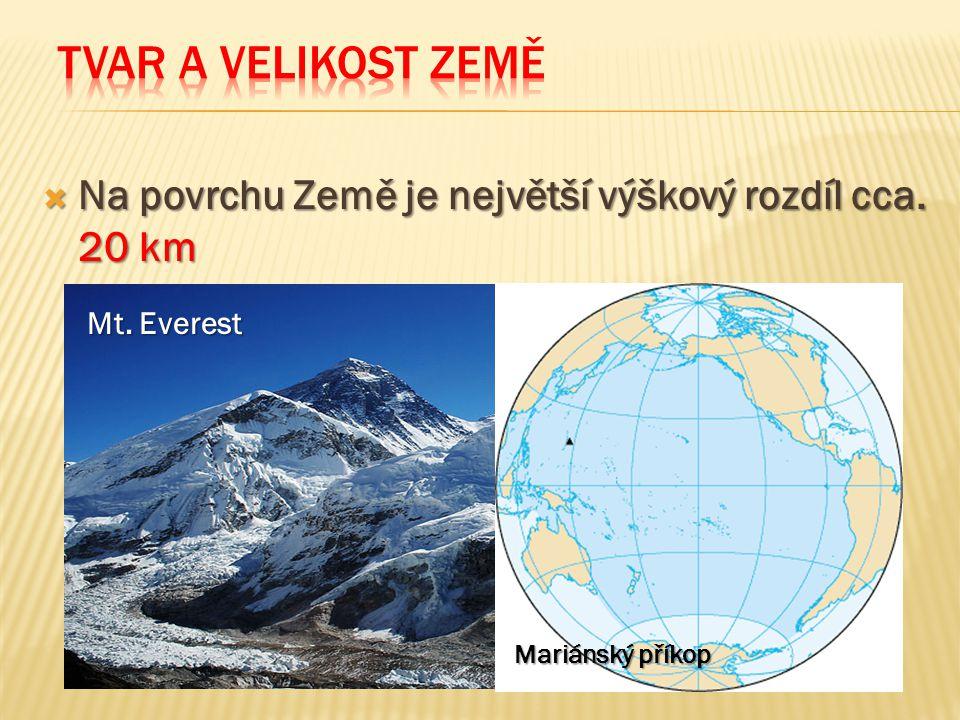 Tvar a velikost Země Na povrchu Země je největší výškový rozdíl cca.