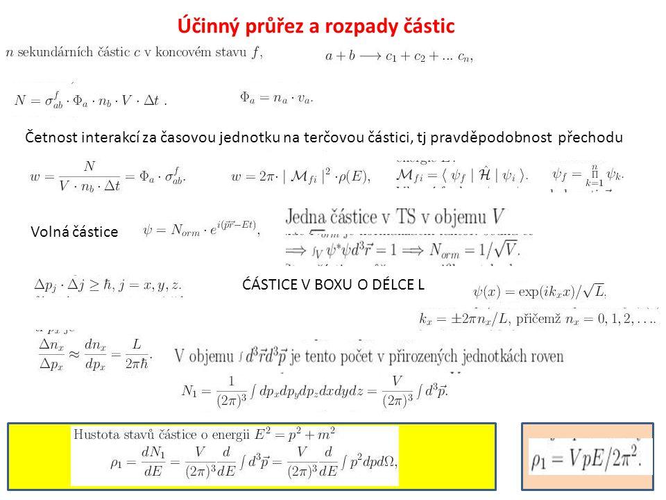 Účinný průřez a rozpady částic