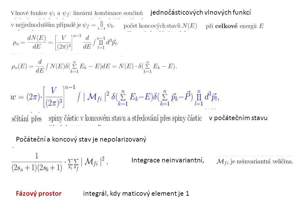 jednočásticových vlnových funkcí