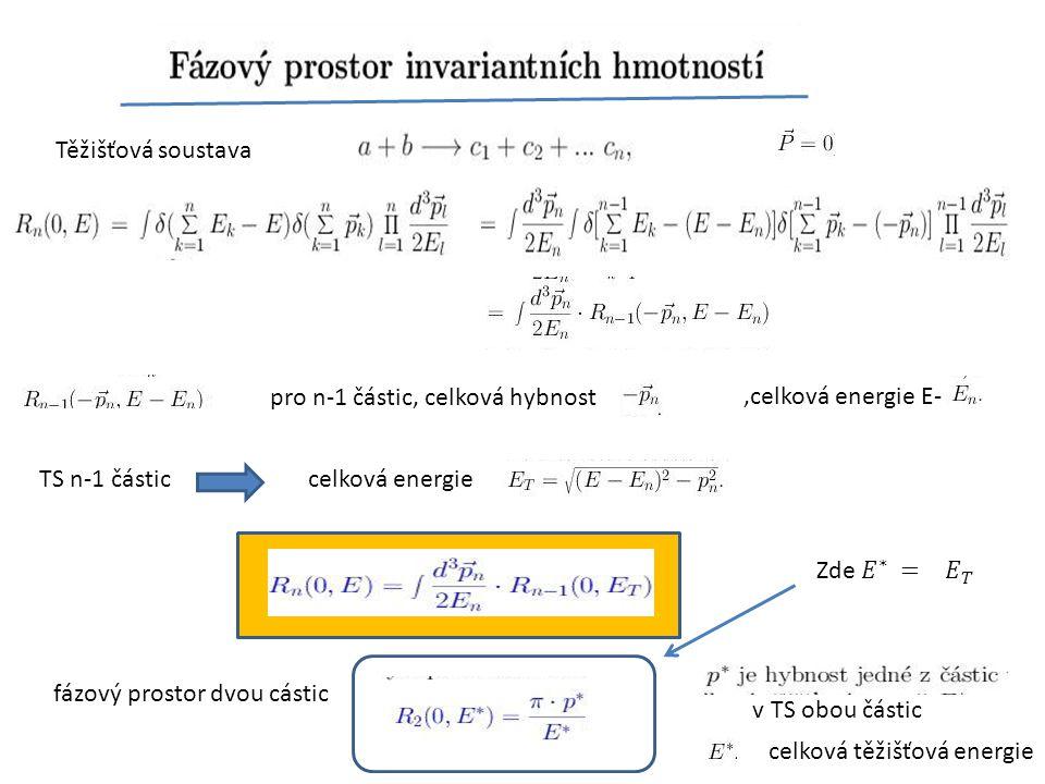 Těžišťová soustava pro n-1 částic, celková hybnost. ,celková energie E- TS n-1 částic. celková energie.