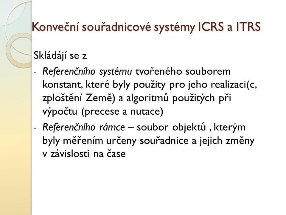 Konveční souřadnicové systémy ICRS a ITRS